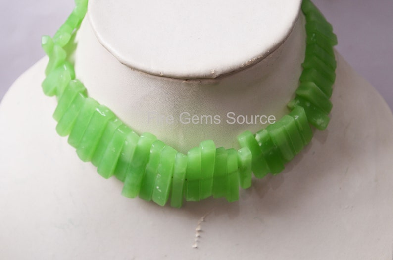 10 Chrysoprase Hydro Quartz Drilled Stick Elongated Beads Sold By Strand 9x5-26x5 mm BL8FGS46 Chrysoprase Smooth Elongated Beads