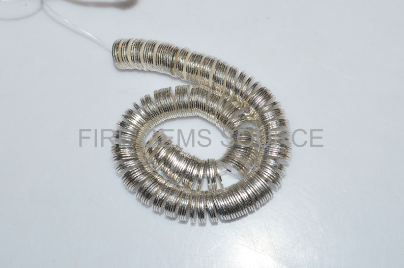10 mm AAA Quality Brushed Flat Disc Shape Beads Silver Plated On Brass 8 CB12FGS05 Crisp Shape Metal Beads