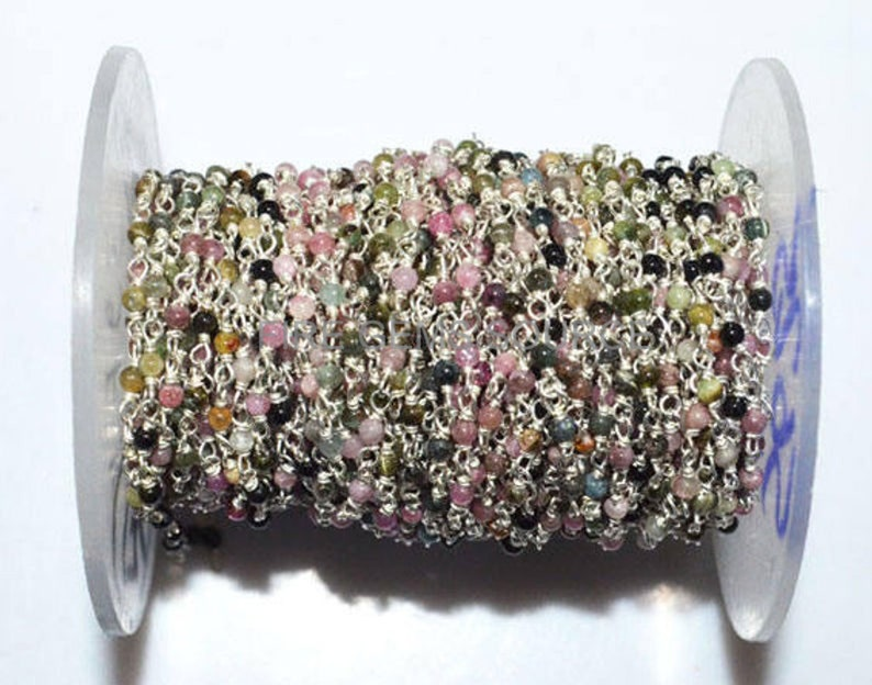 Tourmaline Wire Wrapped Rosary Chain 100 Foot Natural Multi Tourmaline Smooth Round Chain 2-2.20 mm RB56FGS25