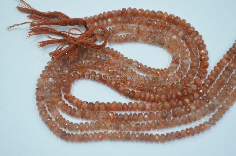 M-4FGS44E Sunstone Beads 13 Natural Sunstone Faceted Beads 6 mm Sold by Strand Sunstone Rondelle Faceted Beads