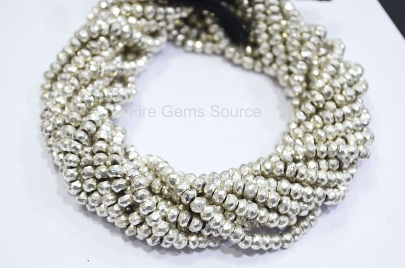 5-5.25 mm MC14FGS11 13 ; Silver Pyrite Beads Brand New Silver Pyrite Rondelle Beads Sold By Strand Silver Pyrite Faceted Beads