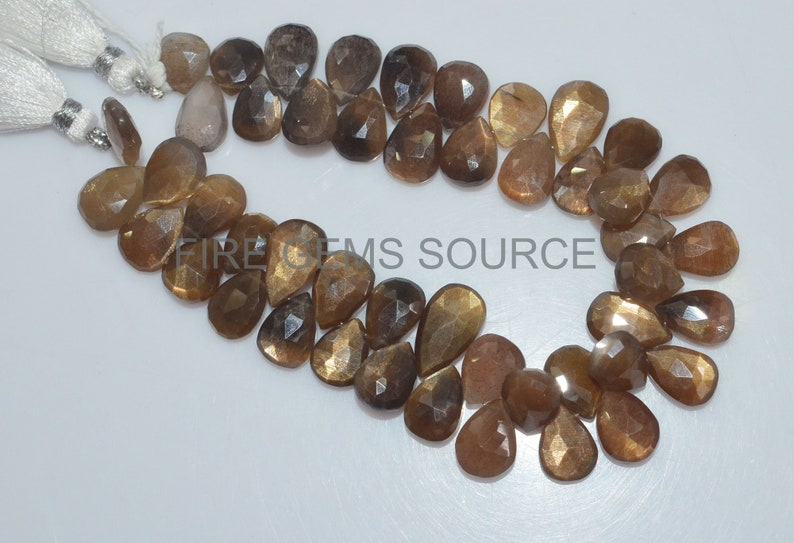 BL48FG79 8x10-9x14 mm Natural Golden Shine Faceted Pear Shape Beads 8 Golden Shine Faceted Pear Shape Briolette