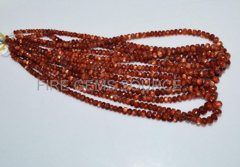 BL51FGS86 4.50-9 mm Natural Sunstone Rondelle Faceted Briolettes Sunstone Rondelle Faceted Beads