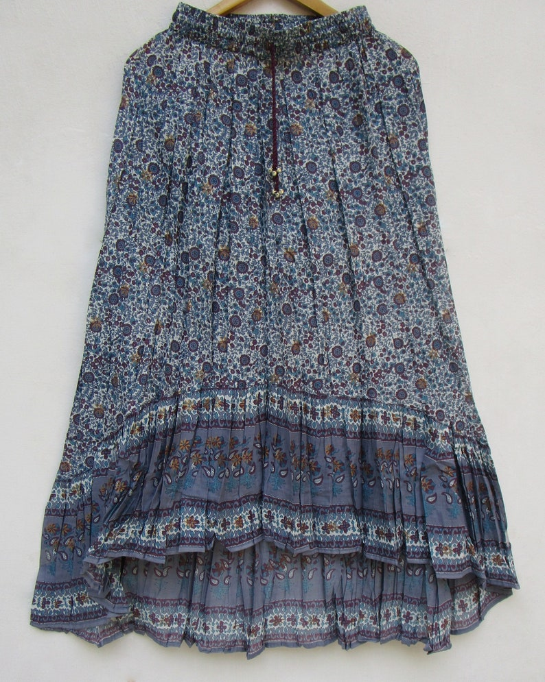 summer bohemian hi low style skirts blue berry floral printed cotton long hi low women maxi skirts