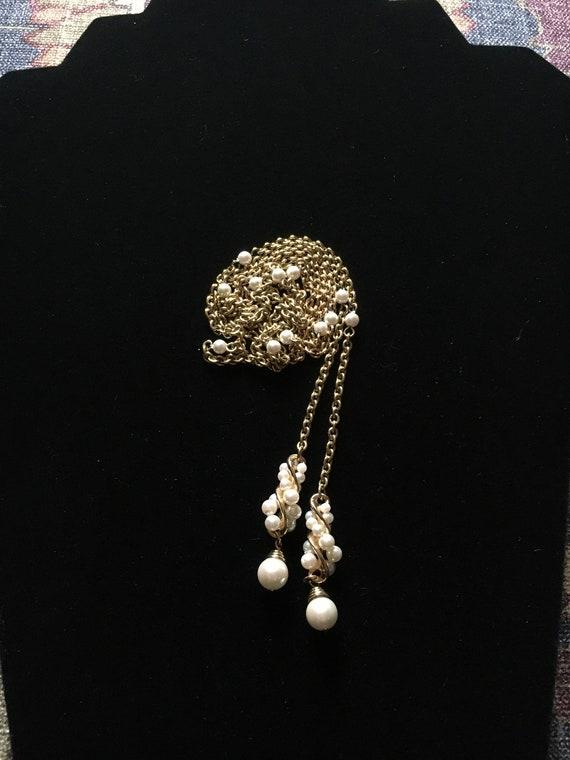 Vintage Faux Pearl Lariat Necklace - image 4