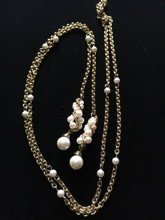 Vintage Faux Pearl Lariat Necklace - image 3