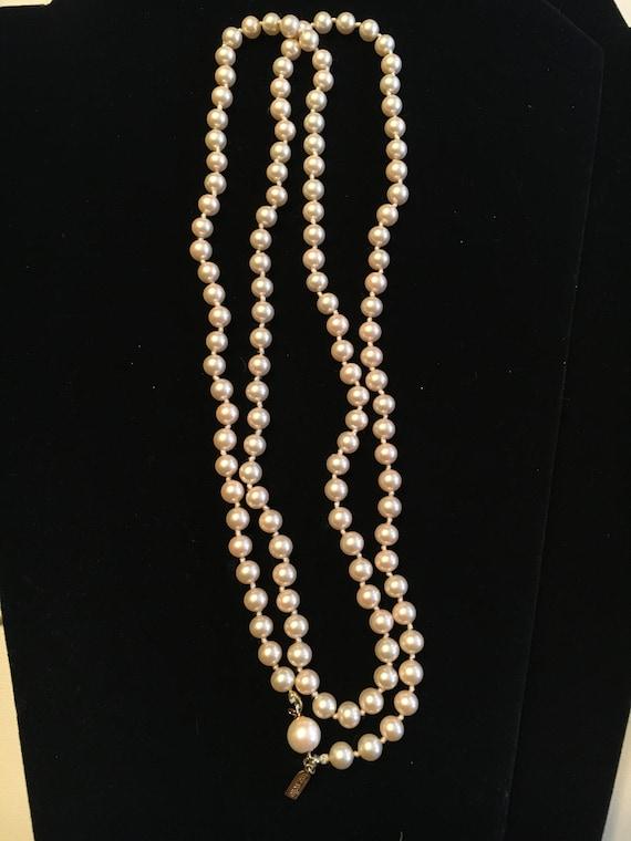 Vintage Marvella Champagne Glass Pearl Necklace - image 3