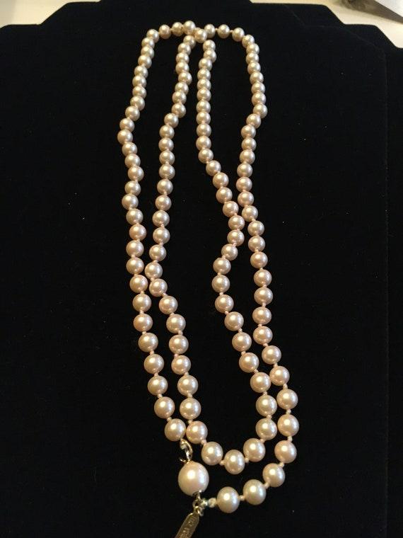Vintage Marvella Champagne Glass Pearl Necklace - image 2