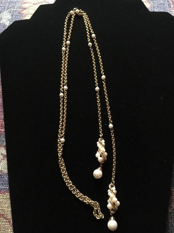 Vintage Faux Pearl Lariat Necklace - image 1