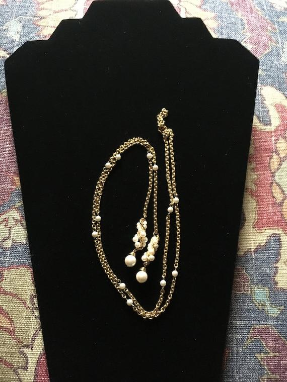 Vintage Faux Pearl Lariat Necklace - image 2