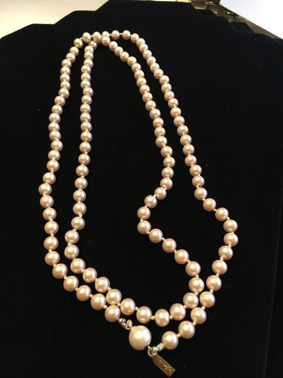 Vintage Marvella Champagne Glass Pearl Necklace - image 4