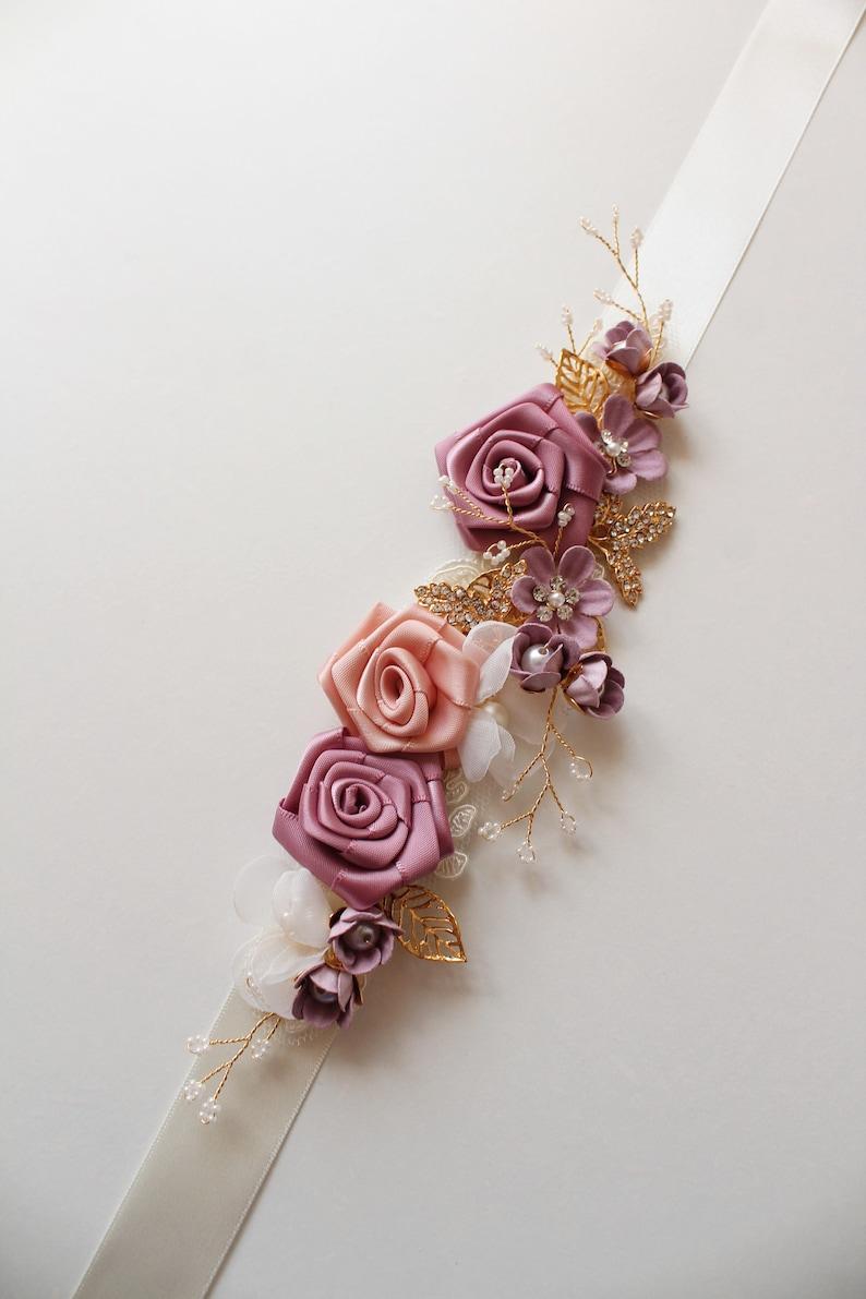 Gold Mauve Bridal Sash Wedding Sash with flowers Floral sash Gold Wedding belt Gold bridal belt Bridal Accessory