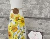 Daffodil vase, flower vase , Easter - decoupage vase, gift, flowers, Mother s Day gifts