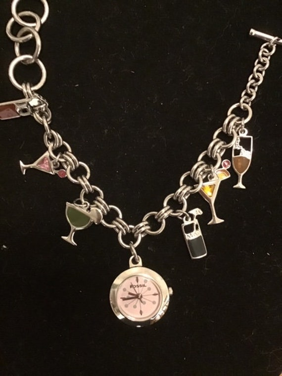 Vintage Fossil charm bracelet watch with cocktail