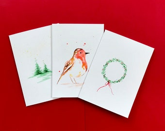 Handpainted Watercolour Christmas Cards x3 Pack