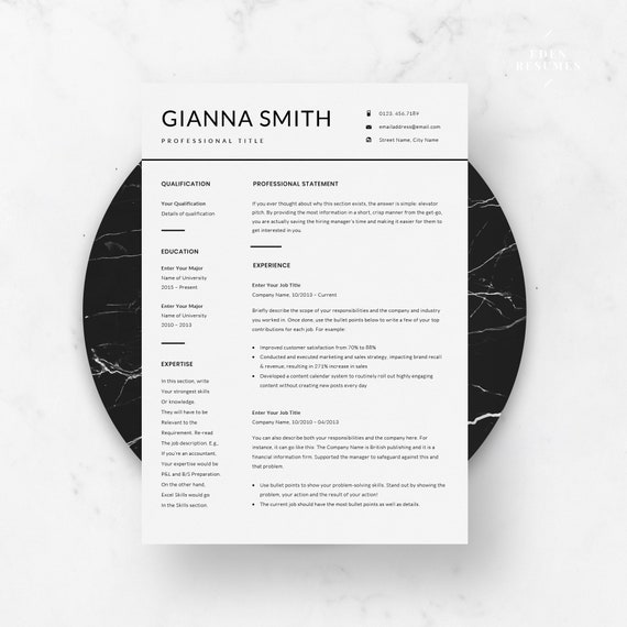 Modern Resume Template Minimalist Resume Template Lebenslauf Vorlage Cv Template Resume Design Creative Resume For Ms Word Elegant Cv