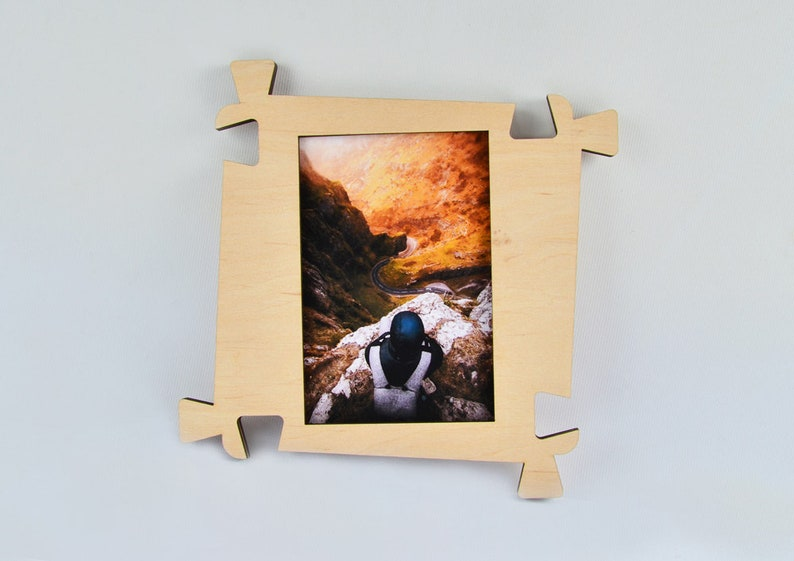 Wood Photo Frame collage photo frame family photo frame rustic photo frame decorative frame Wood Frame Puzzle wall frame Puzzle Piece Set