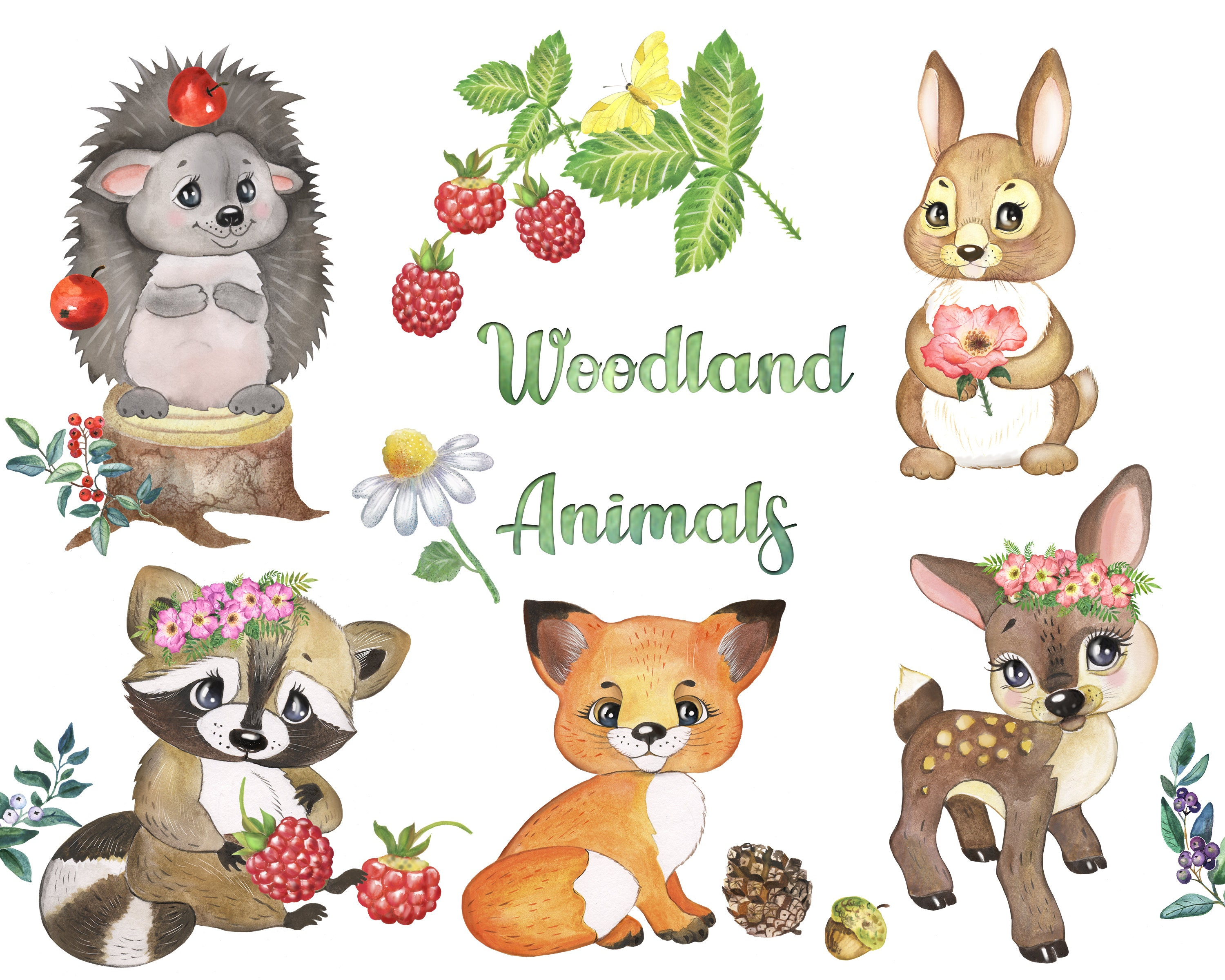 Woodland Animals Clipart. Forest Animal Clip art. Woodland Creatures.  Woodland Nursery Clipart PNG