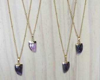 10x15mm Amethyst Horn Electroplated Pendants