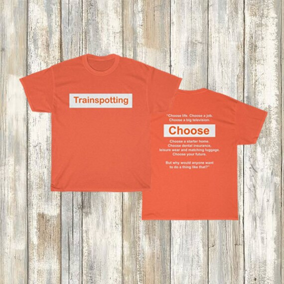 Inspired By Vintage 90s Trainspotting Movie Logo Front And Back T Shirt Cult Film Unisex Heavy Cotton Tee by Etsy