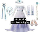Disney Inspired Frozen 2 Elsa Snow Princess White Dress Costume Set, Birthday Party Dress For Girls. Black Friday Sale
