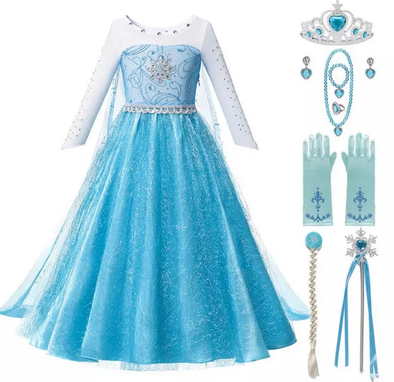 Disney Inspired Frozen Elsa Snow Princess Dress Costume Set