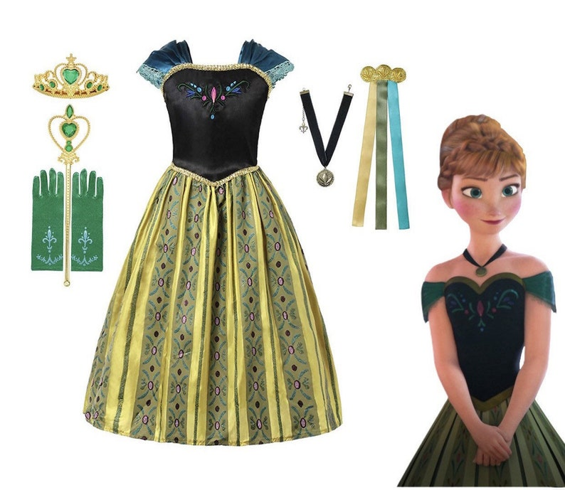 Disney Inspired Frozen Anna Coronation Princess Dress Costume