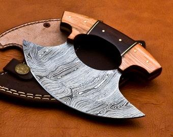 Handmade Damascus Chef Kitchen Ulu Knife Making Custom 100% Handmade Damascus Steel Handle Koa Wood with leather Sheath 1089