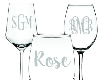 Personalized Wine Glass | Engravable, Custom Name or Initials Glassware | Perfect for Wedding, Anniversary, Mother's Day, Bridesmaid Gift