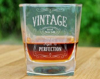 Fun 50th Birthday Whiskey Rocks Glass Gifts for Men /& Women Turning 50 Retro Whisky Drinking Tumbler Vintage 1970