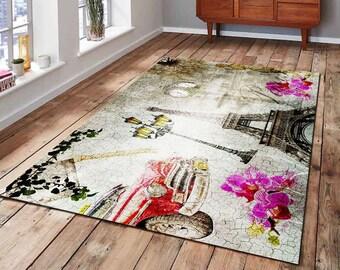 Painting Themed Rug Kilim Floor Antislip Home Area Carpet Aesthetic Retro Design Durable Carpet Rug Home Floor Kilim Home Retro