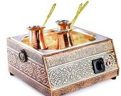 Coffee Machine Silver On Sand With 2 Pot Turkish Greek Armenian Coffee And Coffee Maker Cooker Traditional Arabian Anatolian Retro Coffee