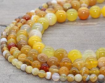 Madagascar Striped Agate Round Beads 8mm Brown//Yellow 45 Pcs Gemstones Crafts