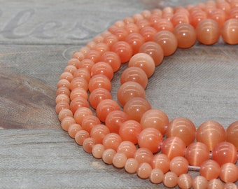 Peach Cat/'s Eye Murano Glass Beads-925 Silver Core-Varied Peach Tones Fits all Designer and European Charm Bracelets*
