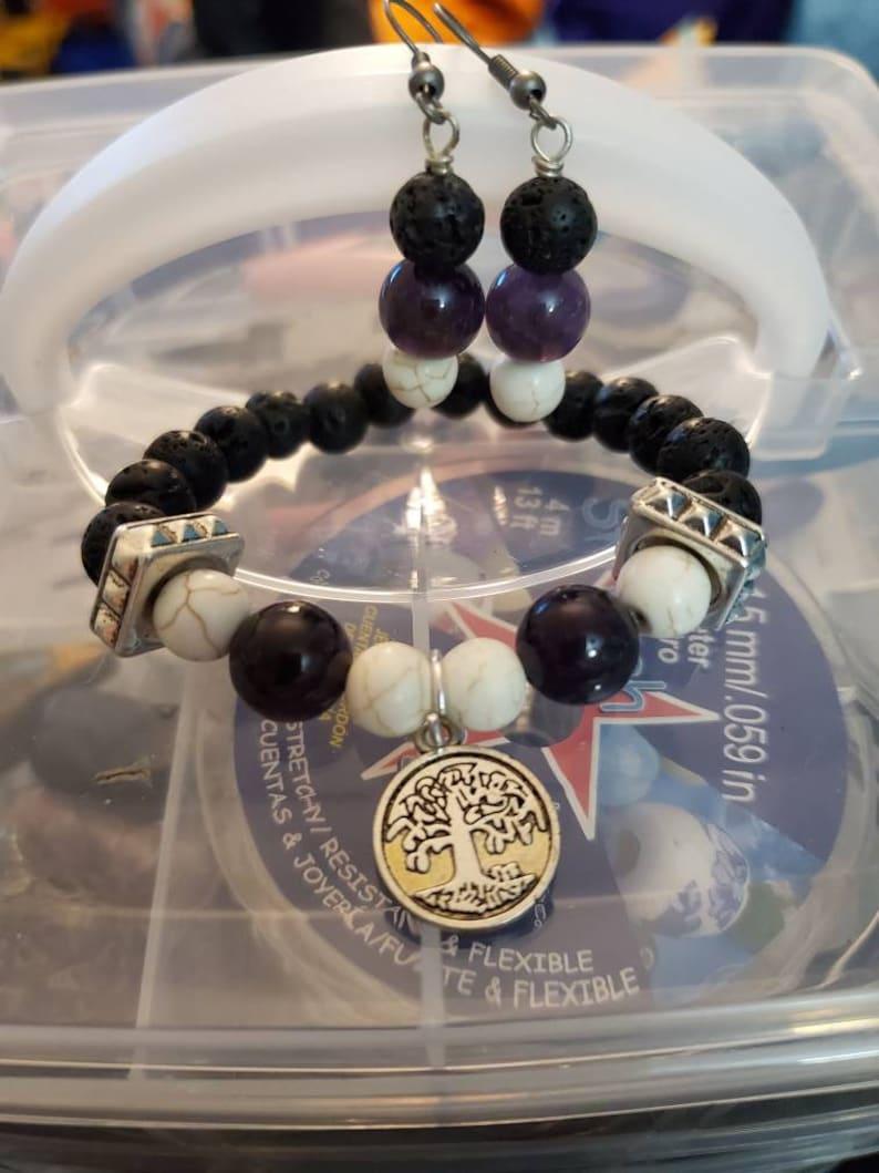 Amethyst and howlite infused bracelet set