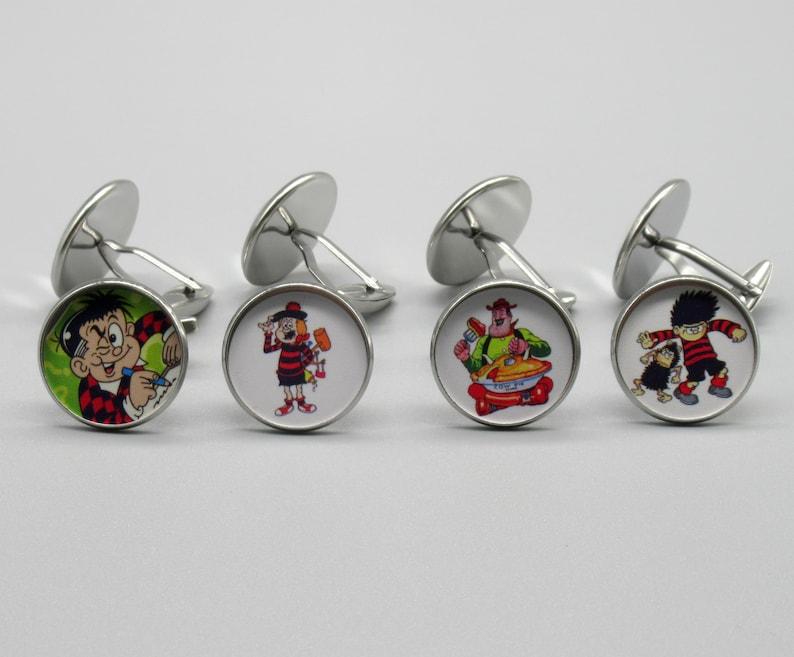20mm Silver Coloured Metal. Comic Cartoon Charters Silver Cufflinks