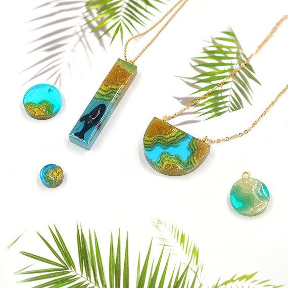 Island Beach Pendant Resin Casting Silicone Mould Jewelry Necklace Epoxy Art DIY