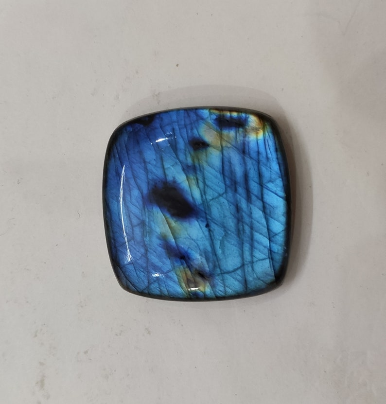 33x33x9 mm Great Quality Blue Multi Fire Labradorite Cabochon Loose Gemstone 100.50 Carats Cushion Shape Best For Silver,Wire wrap Jewelry