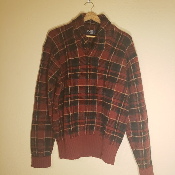 Vintage Polo By Ralph Lauren 100% Wool Plaid Sweat
