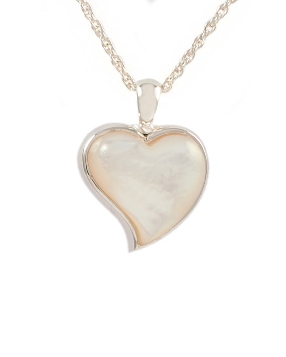 Cremation Jewelry, Urn Ash Necklace Heart, .925 sterling silver, Memorial Pendant,Mother of Pearl Stone
