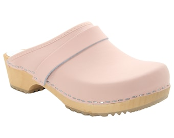 Maja Wood Open Back Pink Leather Clogs