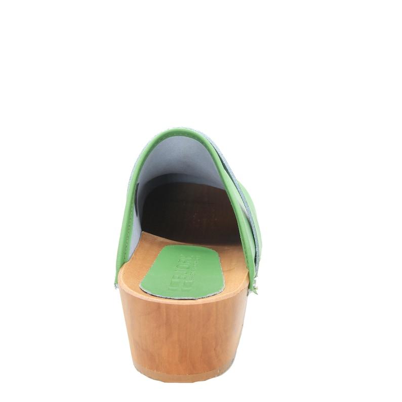 Maja Wood Open Back Green Leather Clogs