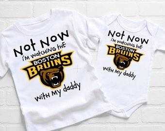Boston Bruins Onesie Bodysuit Shirt Love Watching With Mommy
