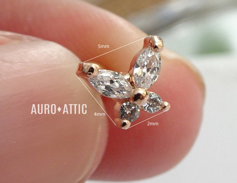 CZ Stainless Steel Teeny Tiny butterfly Piercing Cartilage Piercing,Helix Earring,Conch,Tragus Barbell or Labret Stud 16G 18G,20G