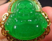 1Yellow Gold Plate Green JADE Pendant Happy big huge Buddha Necklace EB3100651