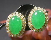 Y Yellow Gold Plate Green JADE Pair Stud Earring Earrings Cabochon EB272150