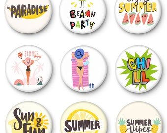 sun and fun beach party chill Button badges pin collectable cute summer vibes