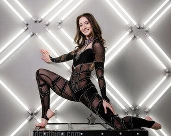 Bodysuit for aerialist | Bodysuit with Rhinestones | Dance catsuit for women | Showgirl costume | Pole dance costume