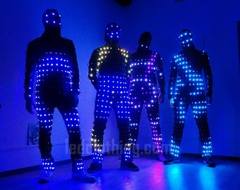 Rainbow Pixel LED light up suit and mask |LED festival and performance wear | costume - from LEDCLOTHING.com