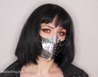 Fashion Unisex Silver Mirror Face Mask with Filter Steampunk Cyberpank Futuristic scifi Clothing Cosplay Accessorie Respirator Fetish BDSM